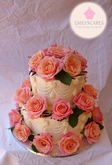 Peach Roses Two Tier Cake