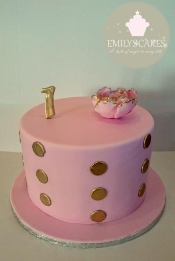 Pink Gold Dots Pink Flower